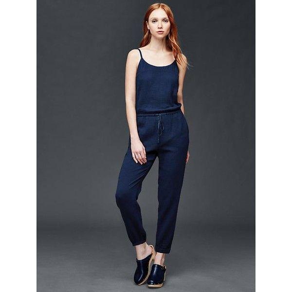cbb770d56323 Gap Women Gauzy Cotton Jumpsuit ( 45) ❤ liked on Polyvore featuring  jumpsuits