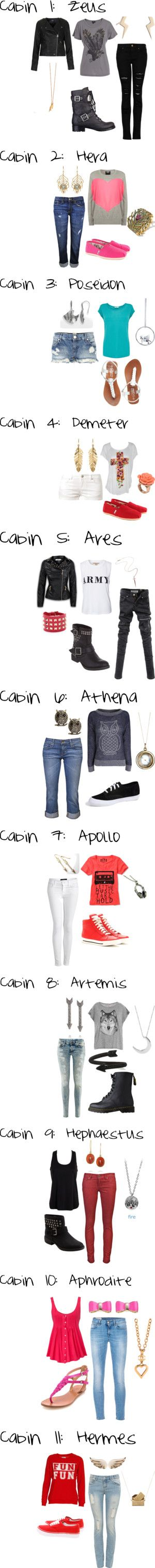 """""""Camp Half-Blood Cabins"""" by kenzie2018 on Polyvore. Why is it not surprising that my fave cabins are also my fave outfits"""