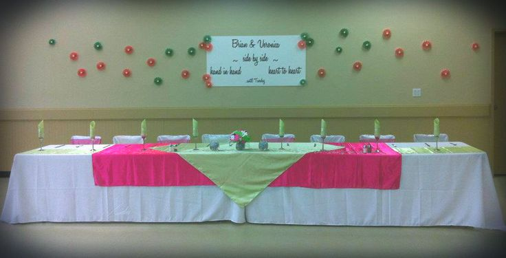 Pink and Green satin head table.
