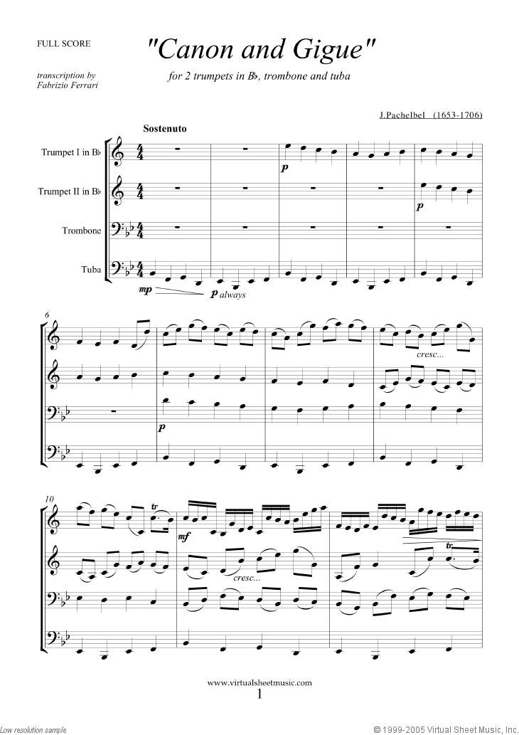 Pachelbel Canon In D Sheet Music For Brass Quartet F Score