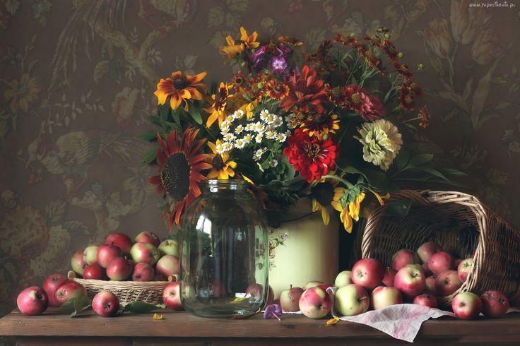 Kwiaty, Bukiet, Jablka, Kompozycja