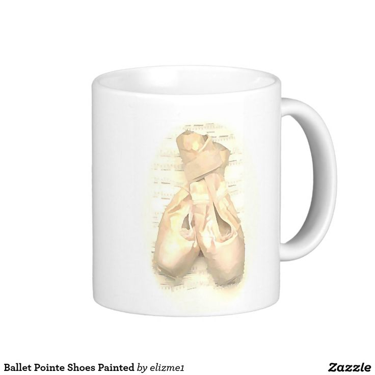 Ballet Pointe Shoes Painted Classic White Coffee Mug A great gift for a dancer or a dance teacher with a beautiful painted image of a pair of pointe shoes and a musical score.