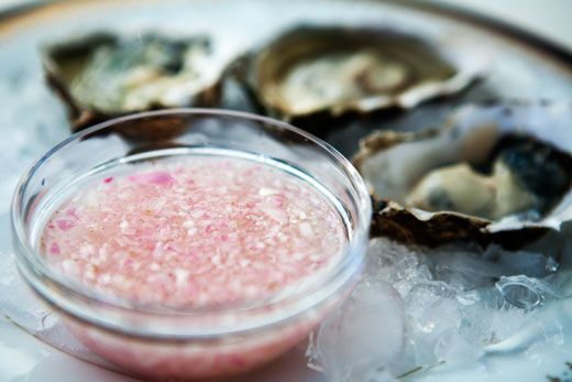 A classic accompaniment to raw oysters, mignonette sauce made with shallots, vinegar, and white pepper.
