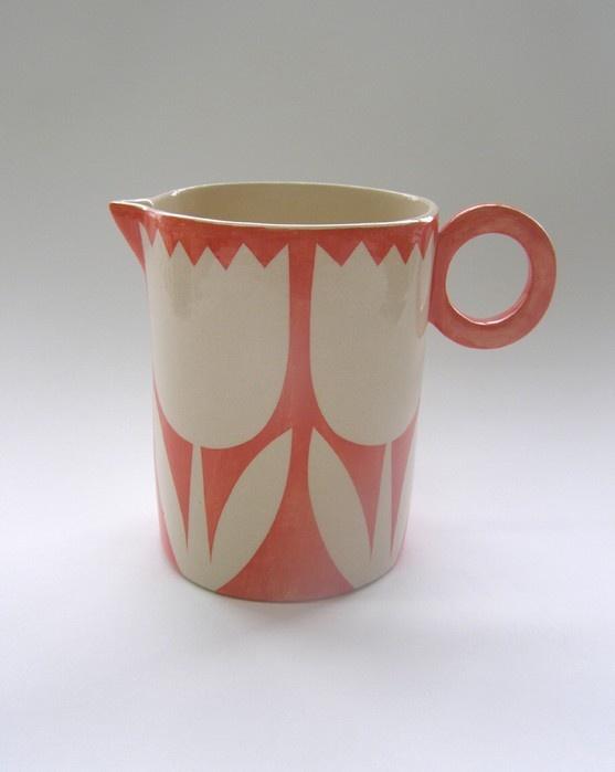 ken eardley:medium round jug - tulips design