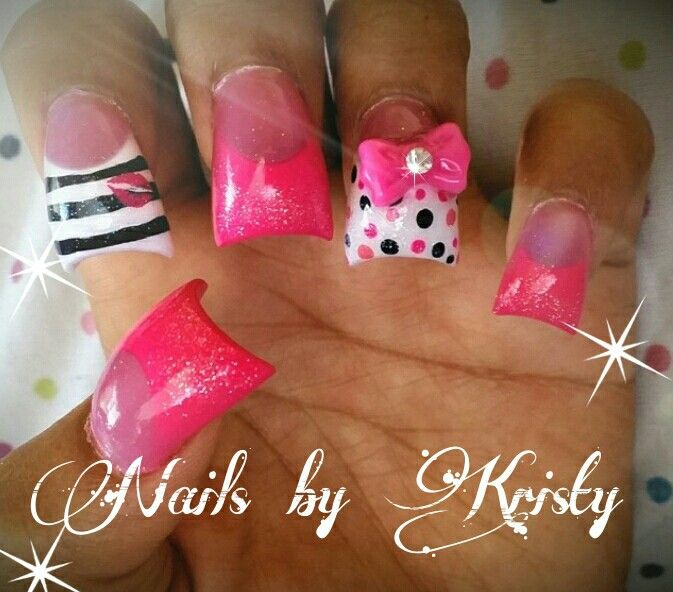 NailsbyKristy# #acrylic #pink#white pureplatinumsalonandspa airbrush hand painted nail art stripes polka dots 3D bows lips glitter so pretty