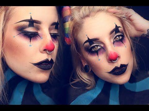 ▶ Creepy clown makeup tutorial - YouTube  Halloween makeup
