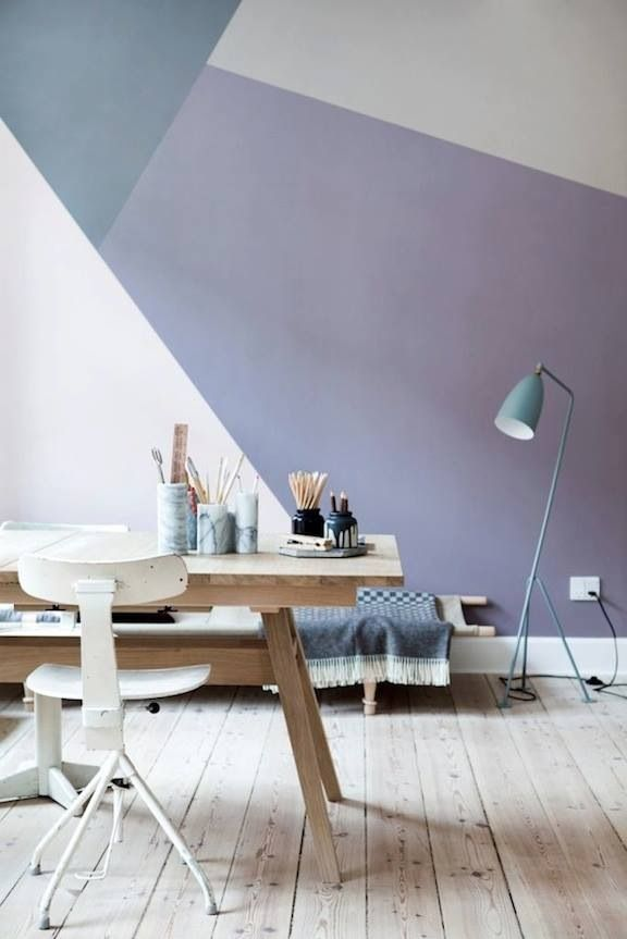 geometric wall paint. I like the minimalist look but in reality everyone has more stuff than this!