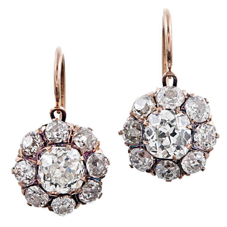 Important Victorian Old European Cut Diamond Cluster Earrings