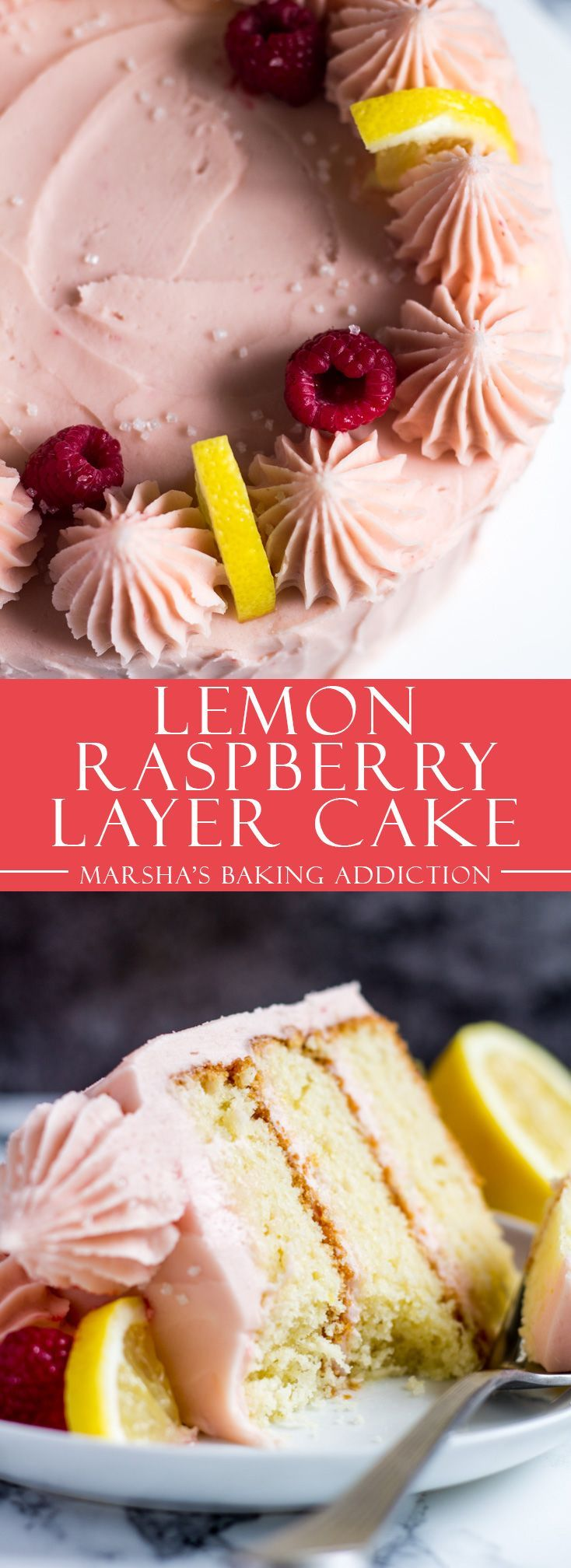 Lemon Raspberry Layer Cake | marshasbakingaddiction.com @marshasbakeblog