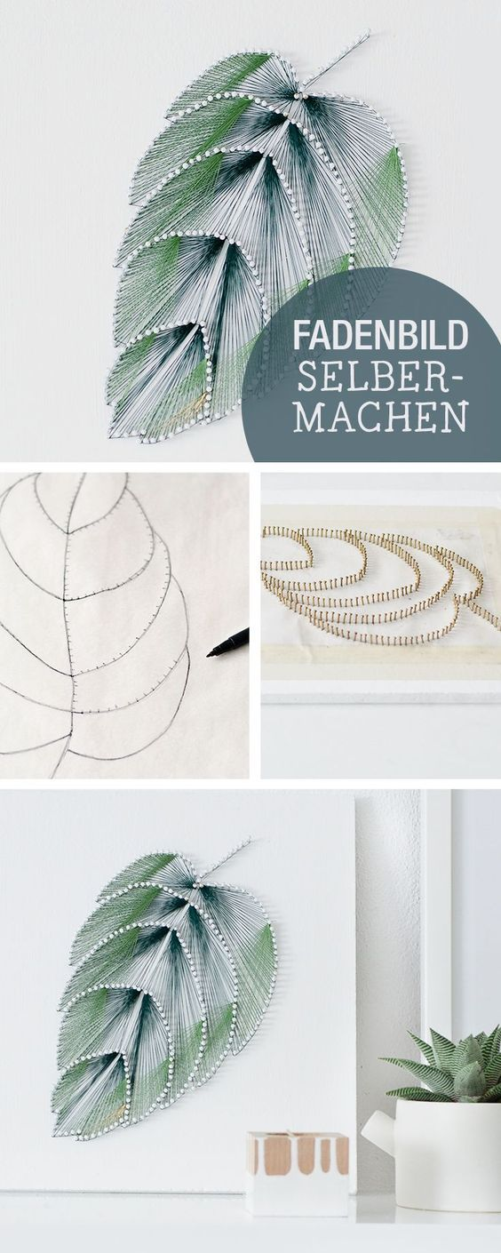 DIY-Anleitung für ein Fadenbild im Botanik-Stil, Wanddeko selbermachen, einrichten / crafting inspiration: picture made of strings, botanic, home decor via http://DaWanda.com