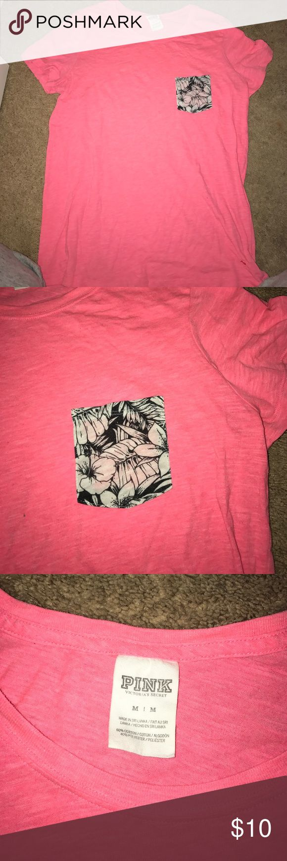 Hot Pink Pocketed T-shirt from Pink Casual tshirt from pink. Has black and white tropical designed pocket on the front. Size M, barely worn. PINK Victoria's Secret Tops Tees - Short Sleeve