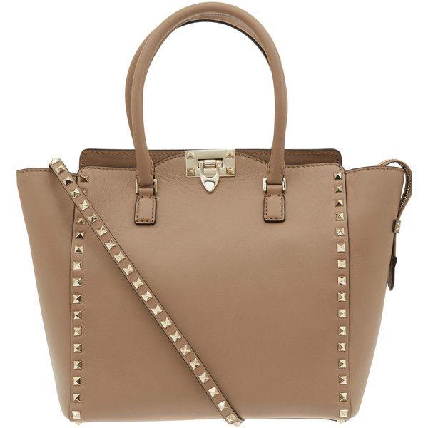 Valentino Beige Rockstud Leather Bag found on Polyvore
