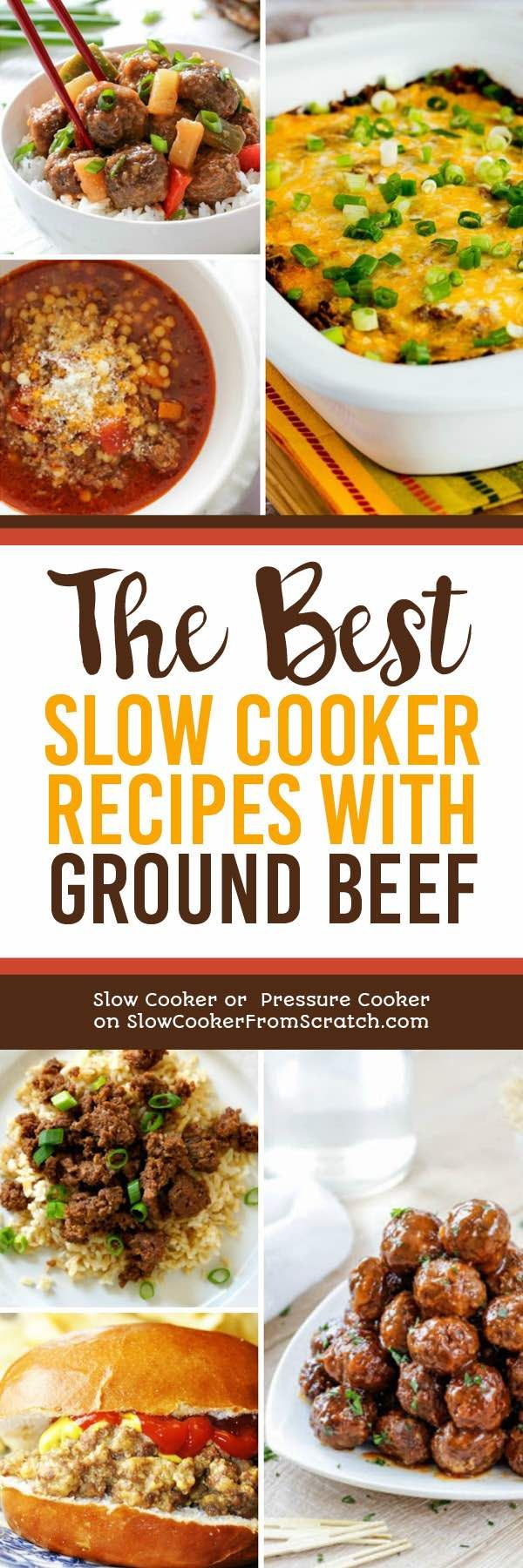 Ground beef is always a mainstay for family dinner, and it's ultra easy to make a ground beef dinner in the slow cooker. To give you ideas, here are The BEST Slow Cooker Recipes with Ground Beef! [found on Slow Cooker or Pressure Cooker at SlowCookerFromScratch.com] #SlowCookerRecipes #GroundBeefRecipes #SlowCookerGroundBeefRecipes