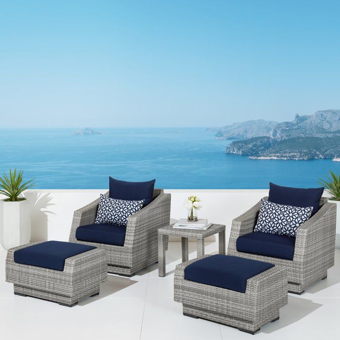 Castelli 5 Piece Rattan Conversation Set With Cushions Luxury Patio Furniture Outdoor Sofa Sets Outdoor Seating Set