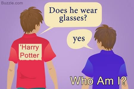 Who am I Harry potter Does he wear glasses? Yes ~ http://www.buzzle.com/articles/indoor-games-for-team-building.html