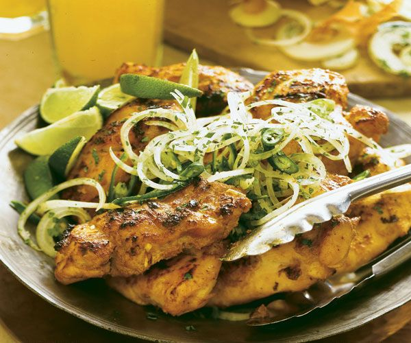 Make this simple, savory Indian restaurant dish at home with a yogurt-lime marinade and a red-hot grill.