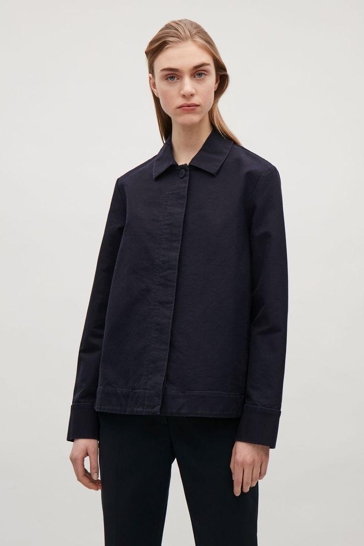 COS image 4 of Boxy twill jacket in Dark Navy