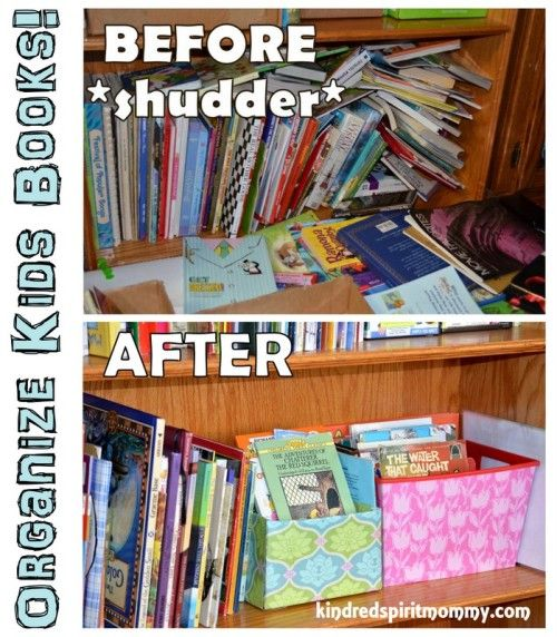 organize kids bookshelves books diy