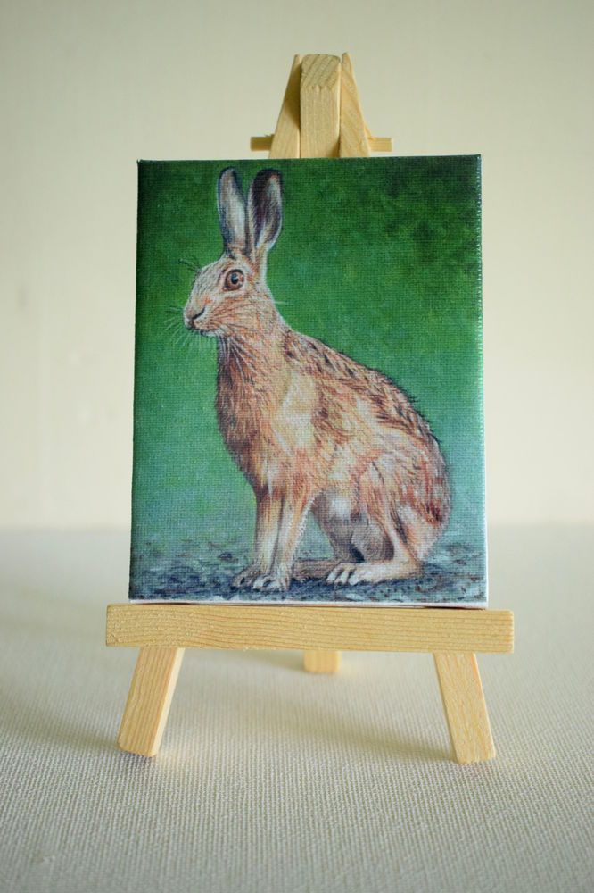 Printed Mini Canvas Hare, 7 x 9 cm #prints #hare #hares #wildlife #gifts