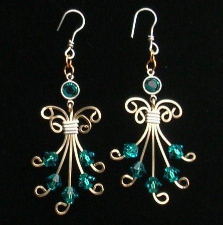 Inspirational Swarovski Earrings Blue Angel