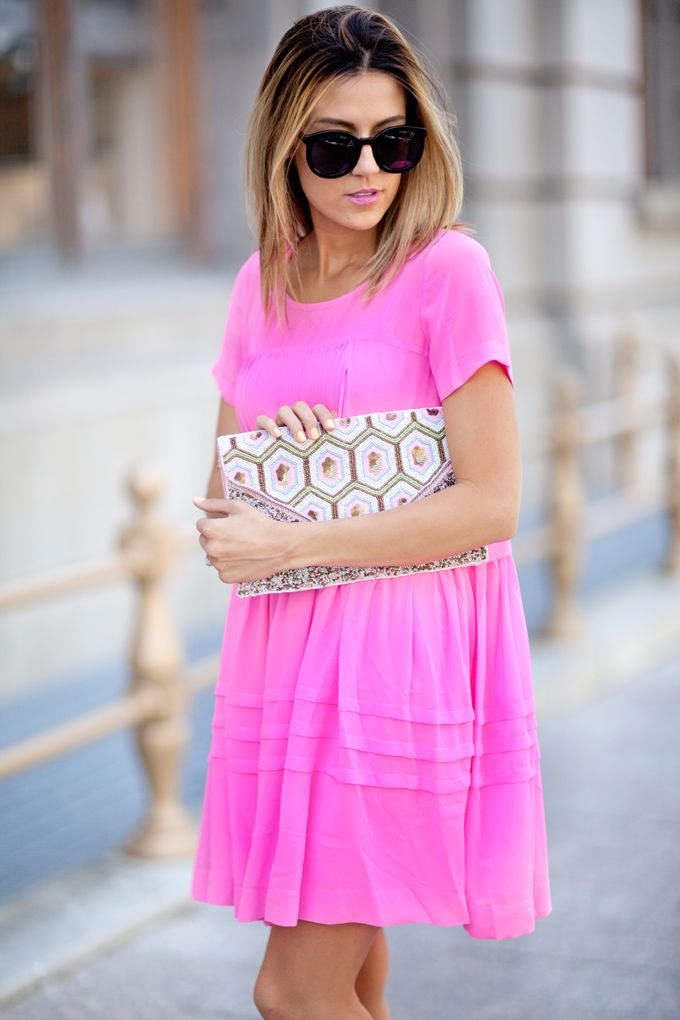 Pink Dress and Pink Clutch