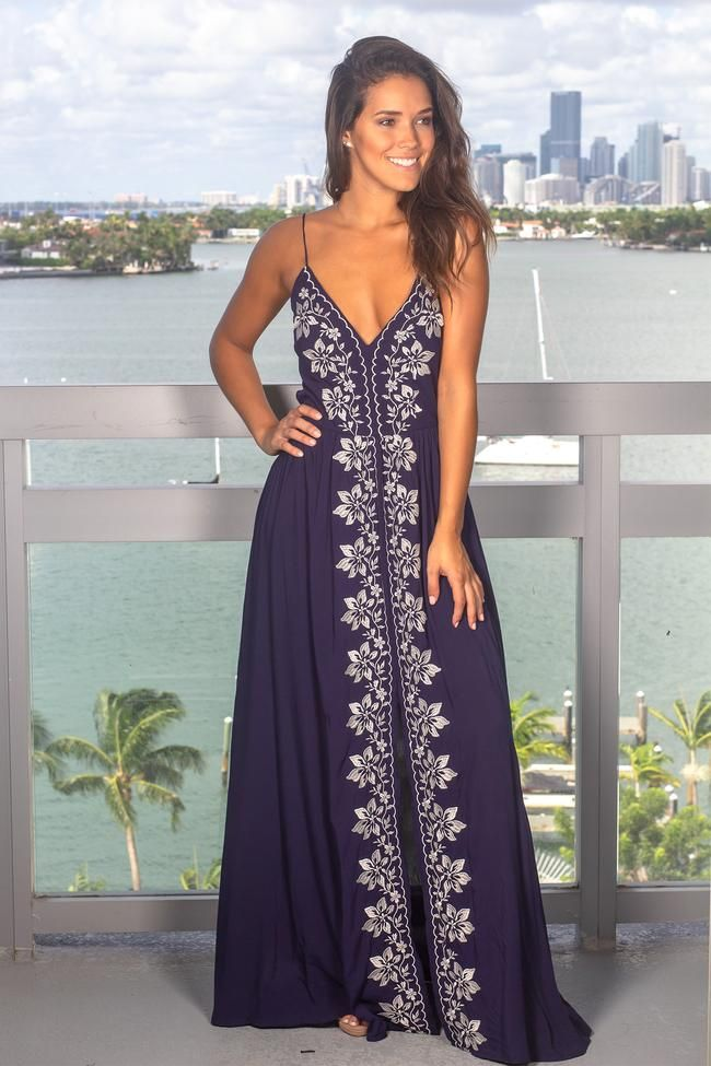 4d86178ceab Navy Maxi Dress with Ivory Floral Embroidery