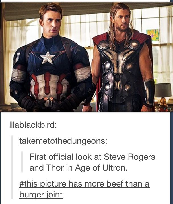 Chris Evans (Captain America) and Chris Hemsworth (Thor) in Age of Ultron- XDThat caption though XD