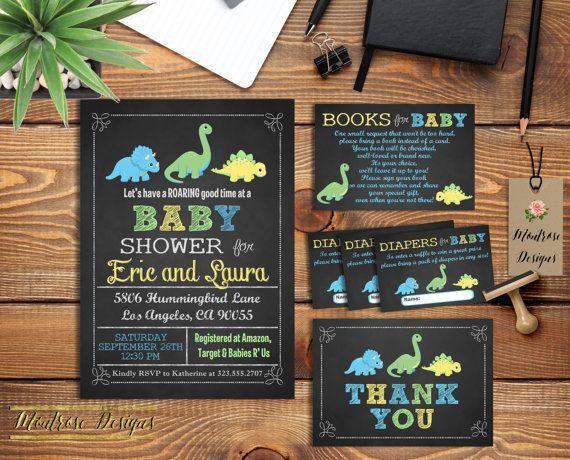 Chalkboard Dinosaur Baby Shower Invitation by montrosedesigns