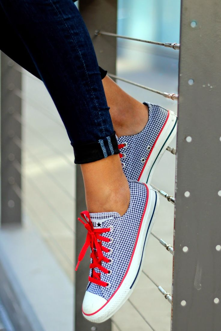 Blue and White Gingham Converse are the Perfect Weekend Kicks!