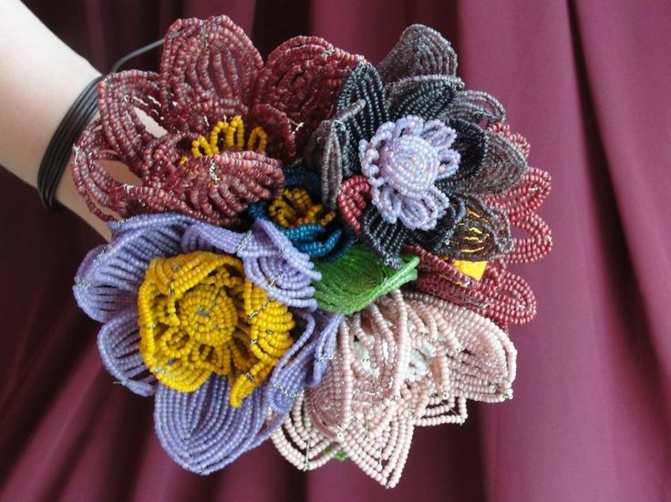 Beaded flowers, french flowers by Recycling-art