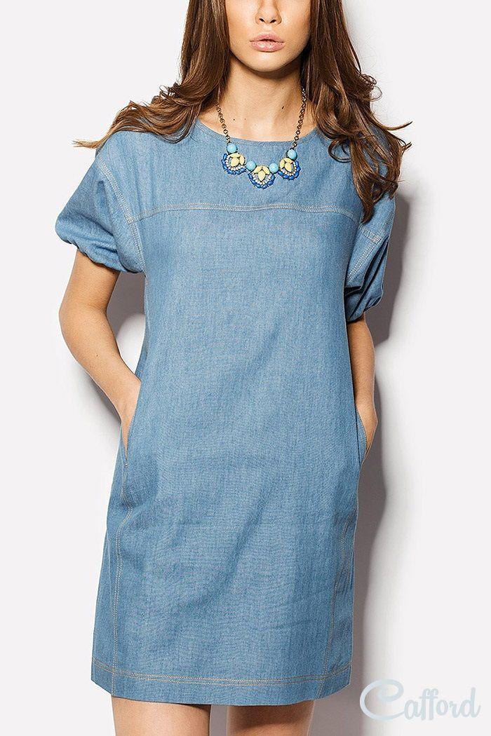 Платье  из коттон-джинса с карманами Miomi 1504/2131 Голубое
