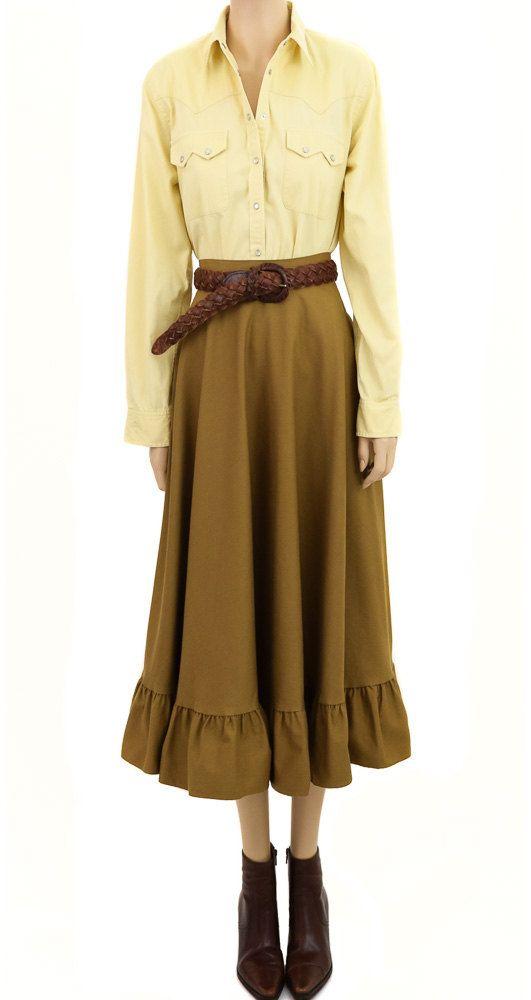"Vintage 1980s Robert Lighton British Khaki Prairie Skirt, Ruffle bottom, Waist 24"", Excellent Cond"