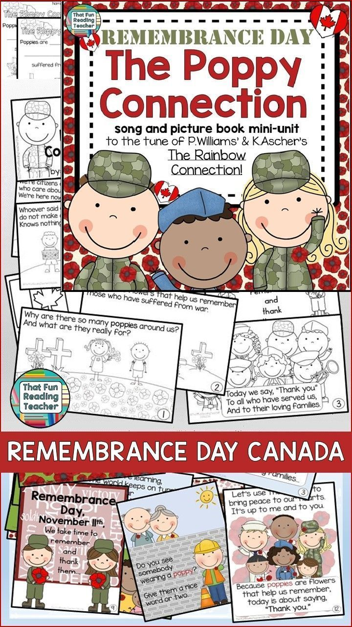 FREE Canadian Remembrance Day Song, Storybook Unit - character ed ideal for an assembly, color picture book, b+w student copy, printables $