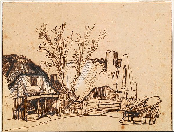 Two Cottages. Artist: Rembrandt (Rembrandt van Rijn) (Dutch, Leiden 1606–1669 Amsterdam) Date: ca. 1636. Medium: Pen and brown ink (gallnut ink, possibly only partially), corrected with white chalk and/or body color.