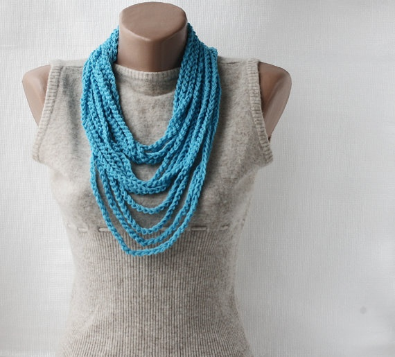 Summer Scarf Infinity scarf necklace  blue by violasboutique, $15.00