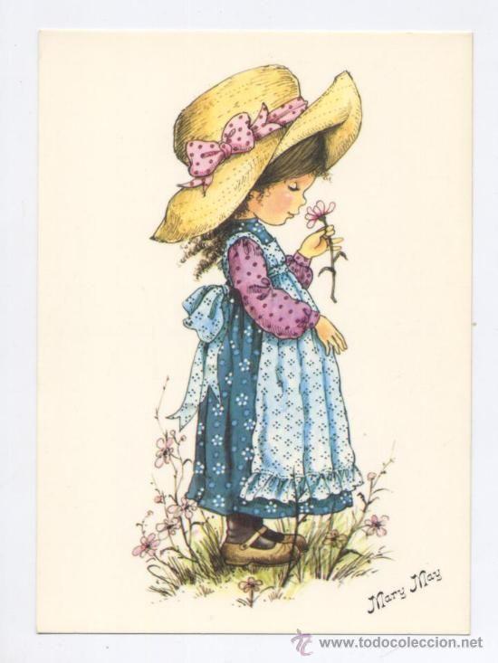 POSTAL *MARY MAY* - OLIENDO LA FLOR