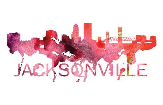 Jacksonville Florida Skyline Watercolor Art by DreamMachinePrints