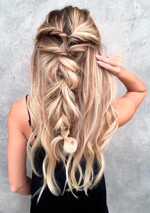 43 Peinados Para Damas De Honor E Invitadas De La Boda Peinados Con Trenzas Peinados Pelo Suelto Boda Y Peinados Femeninos