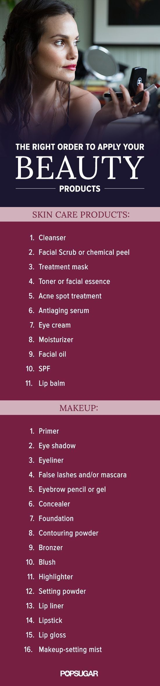 This is the right order to apply your skin care and makeup products. Are you doing it right?