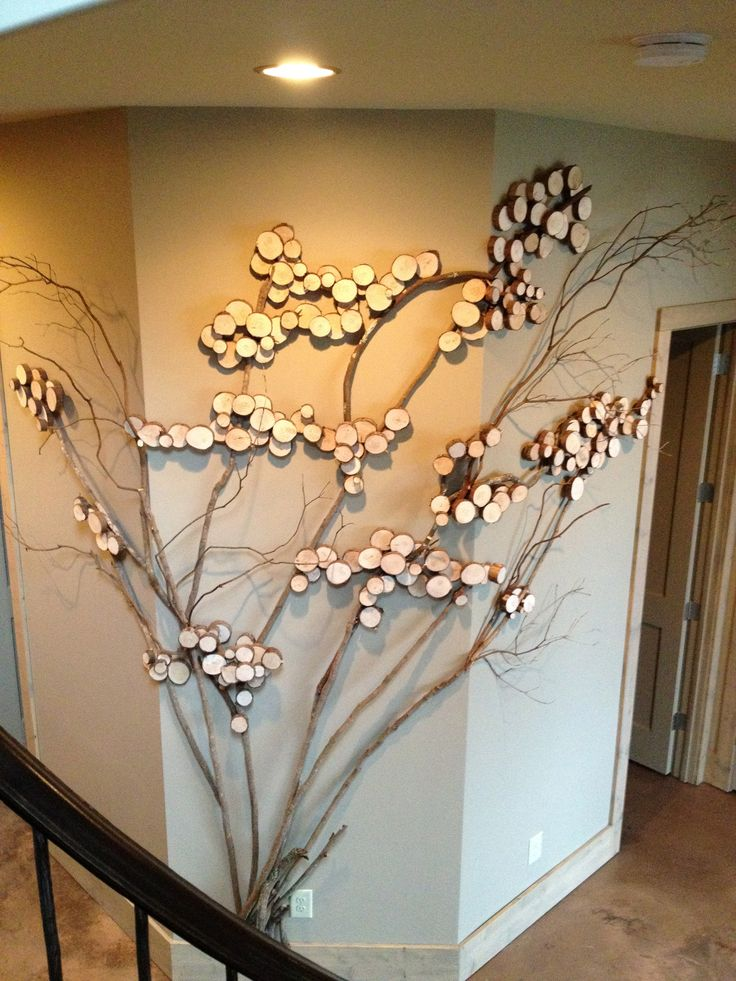 Three sided wall art - tree art, twig art for wall decor, wall art with mountain laurel twigs, wood slices