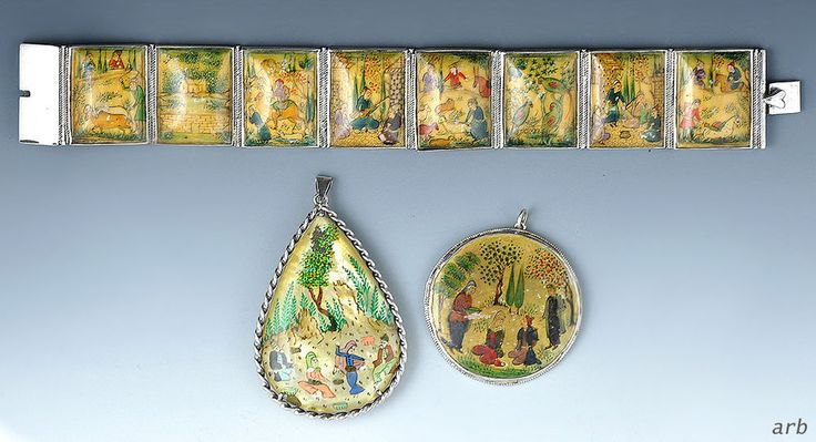 Great Painted Persian Story Bracelet w/2 Pendants, Domestic/Agricultural Scenes