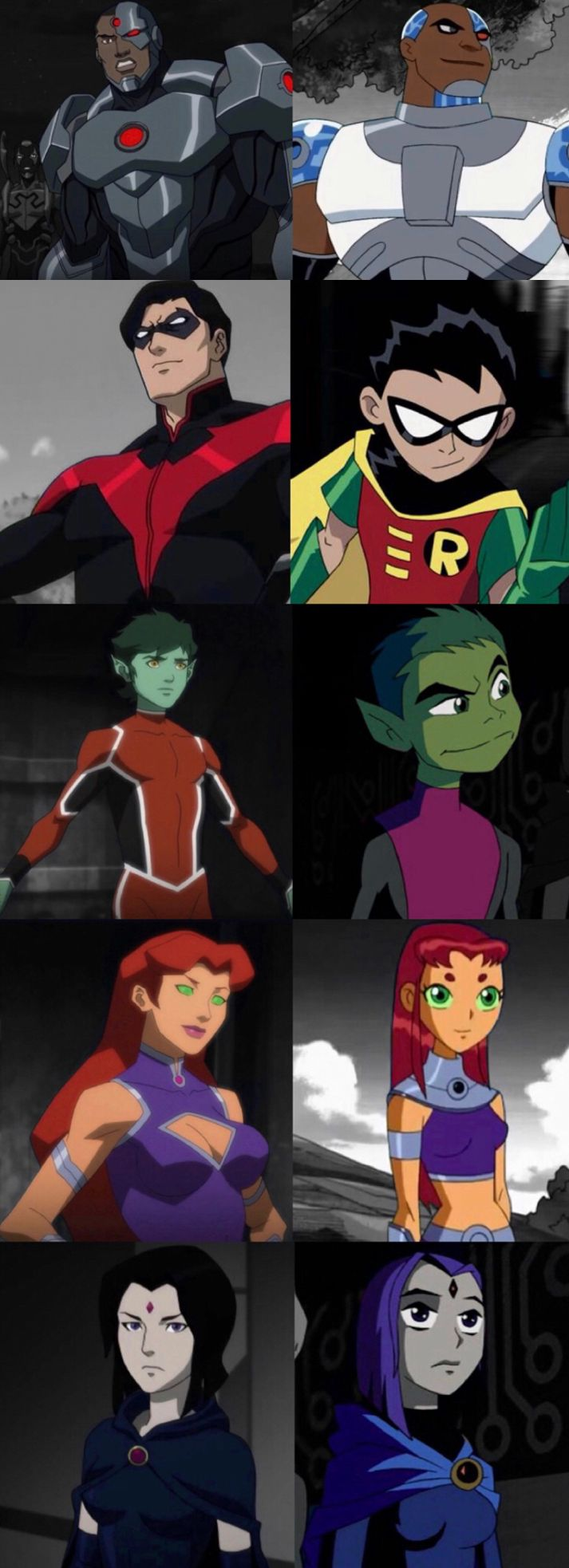 Teen Titans. Cyborg. Robin. Nightwing. Starfire. Raven. Beast Boy.