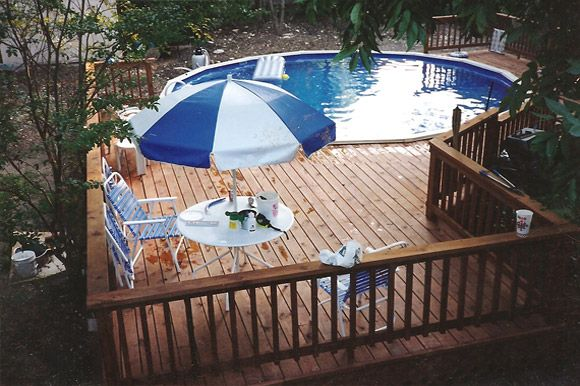 Nice deck design pools tiki bars pinterest for Above ground pool bar ideas