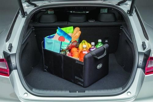 The Kia Trunk Organizer keeps your trunk organized! It helps contain any items you have in your cargo area and prevents any accidental spills!