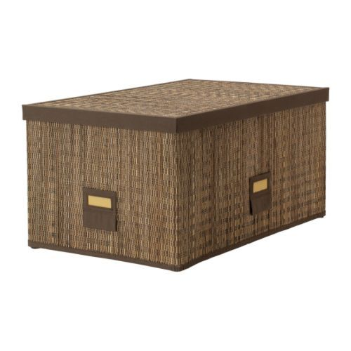 IKEA - MOTORP, Boîte avec couvercle, 35x55x27 cm, , Idéal pour ranger journaux, photos ou autres souvenirs.Utilisez le porte-étiquette inclus pour avoir facilement un aperçu du contenu de la boîte et rapidement trouver vos affaires.