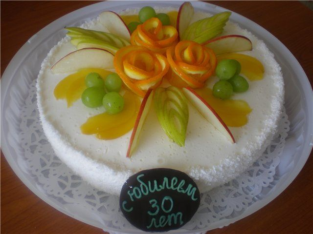 Как украсить торт фруктами банановая пальма | Cake ...