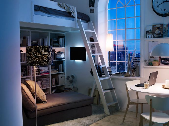 nyc apt ikea small bedroomloft - Bedroom Ideas Ikea