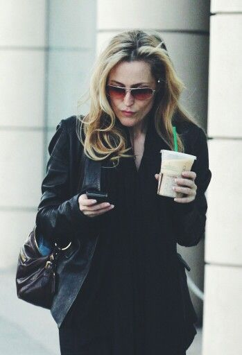 Gillian Anderson & coffee - two of my favourite things. I would fetch my Queen the finest cream for her coffee!!!!