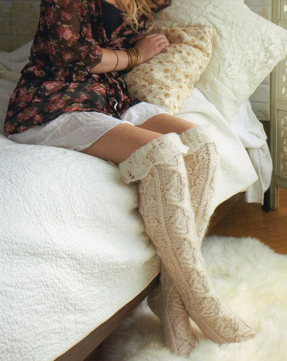 Thigh High Stockings Socks Knitting Pattern Womens Over The Knee Sexy Socks…