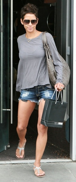 Who made Halle Berry's tan purse, gray top, jean shorts and sunglasses that she wore in West Hollywood?
